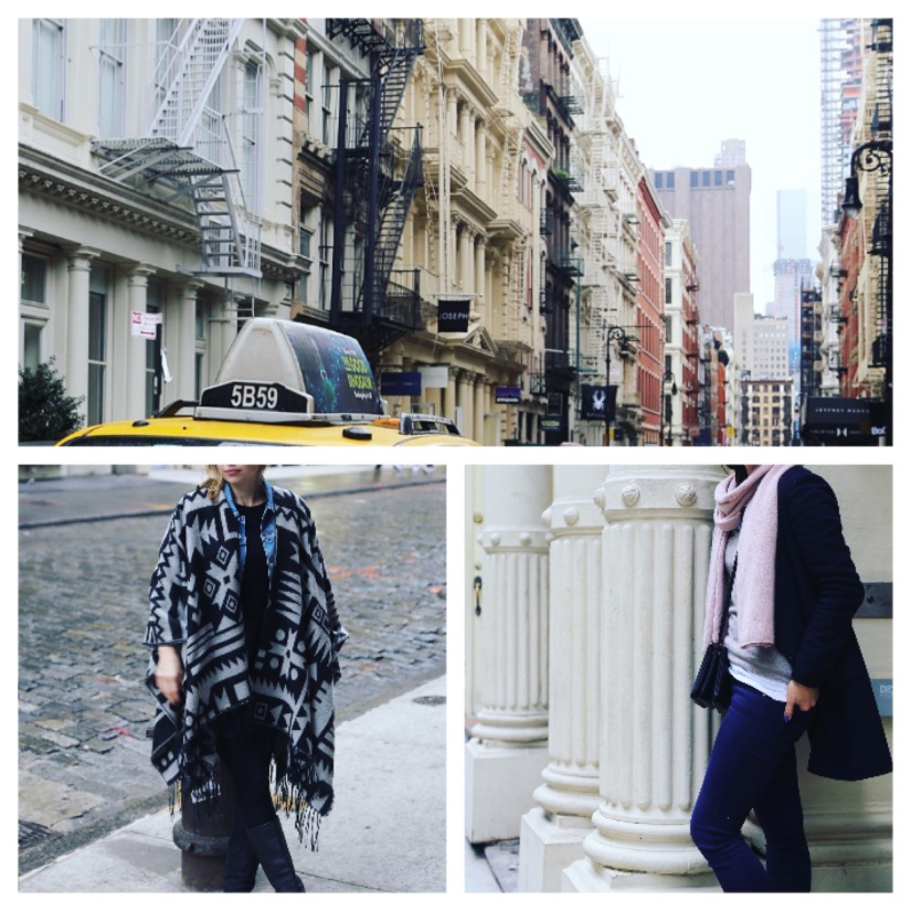 Outfits: Rainy Soho – Cozy Scarf and a Poncho (EN)